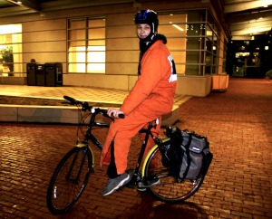 Sweet Idea cookie runner David Joseph Ritter on his delivery bike.