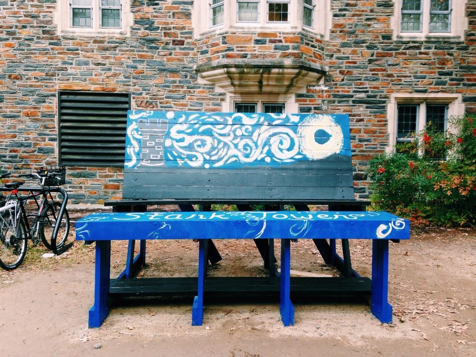 Students follow Duke University's bench decorating tradition before games with rival UNC.