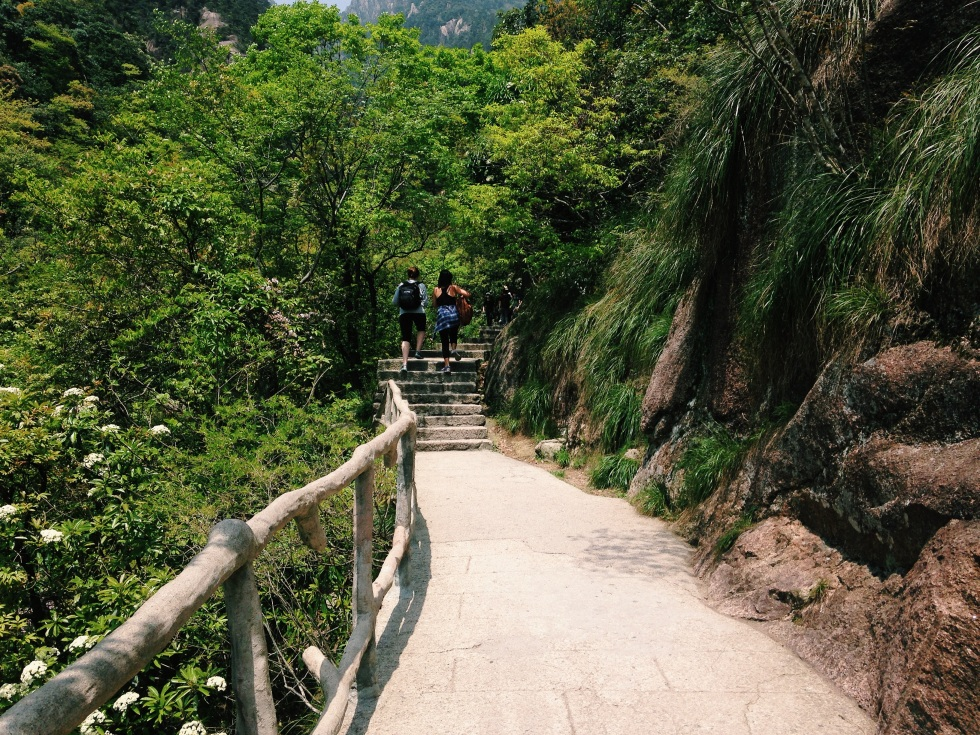 Beginning our hike up Huangshan