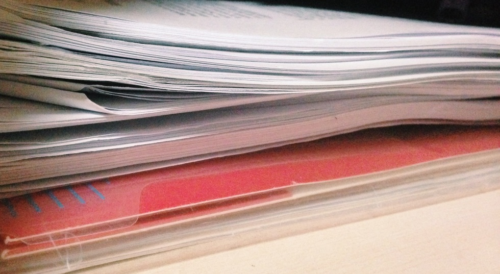 Stack of only a fraction of the semester's reading