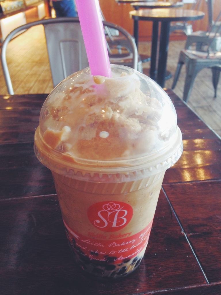Shilla Bakery's black milk tea boba
