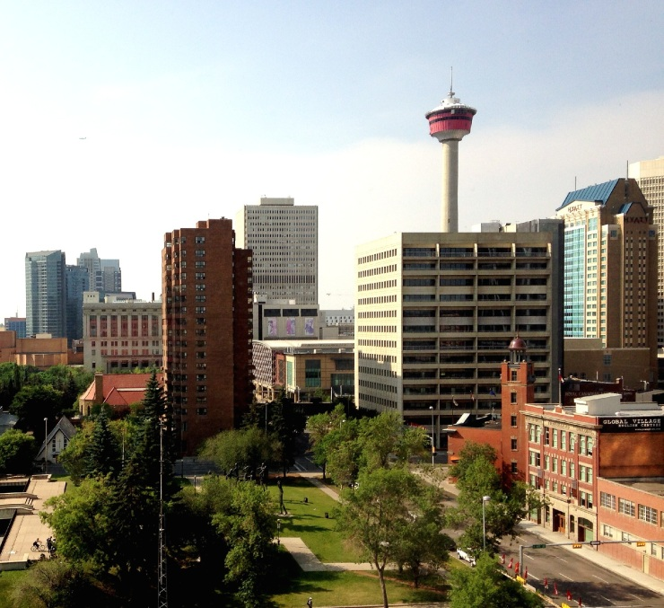 Morning view of Calgary Tower and city skyline from Delta hotel