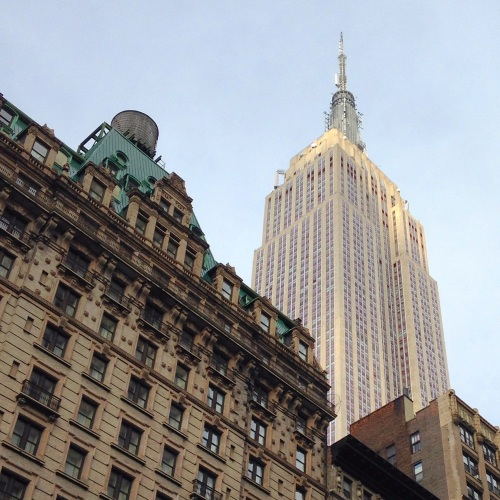 View of NYC Empire State Building from Broadway