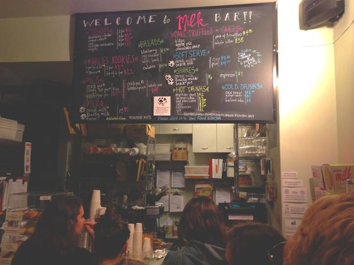 Momofoku Milk Bar menu