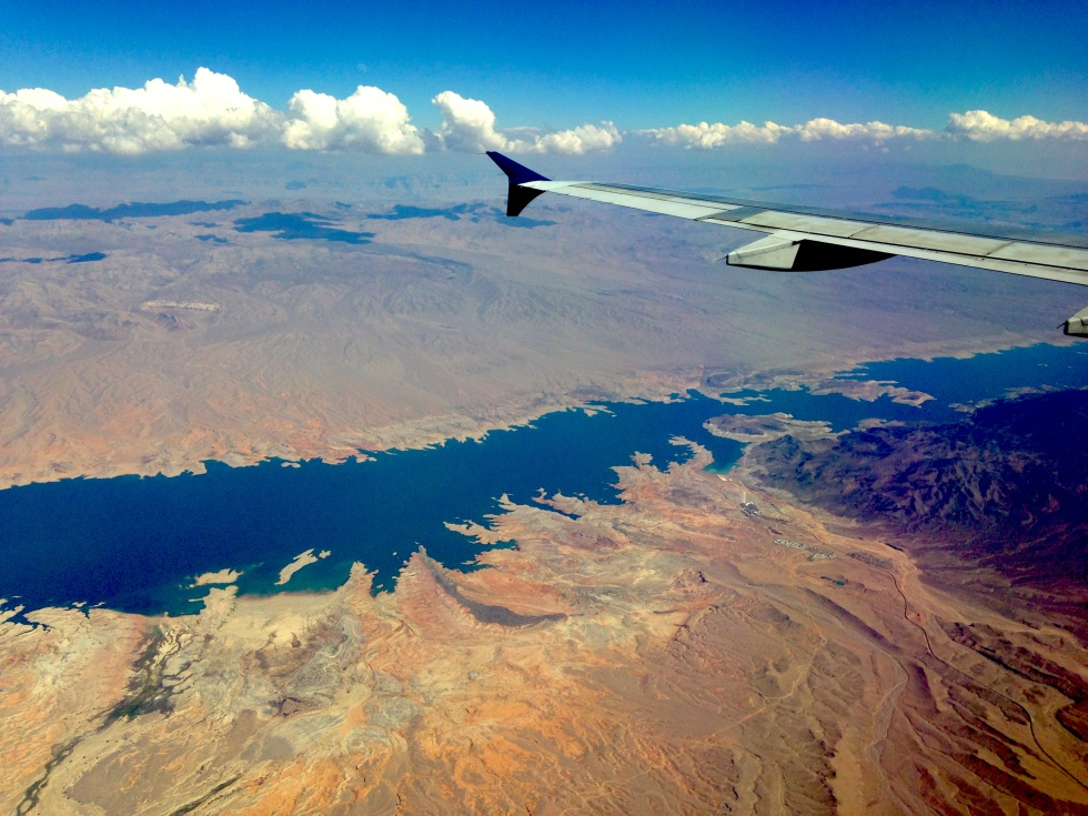 Airplane wing view of Nevada