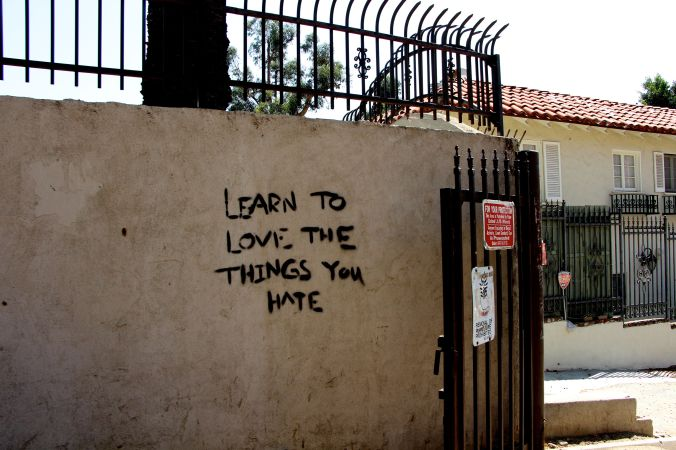 """Learn to love the things you hate"" quote"