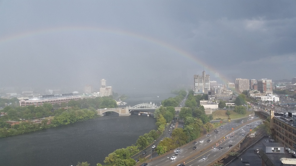 Rainbow on Charles River from Student Village