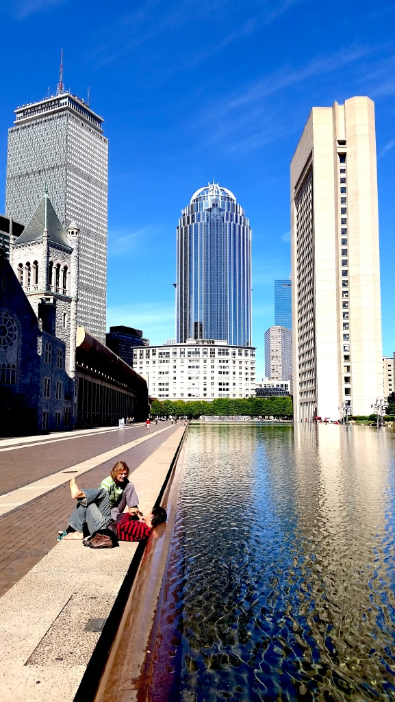 Christian Science Reflecting Pool and skyline