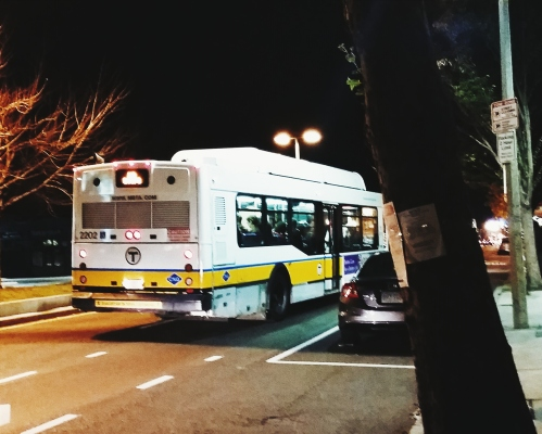 "MBTA ""NO STOPS"" bus stops"