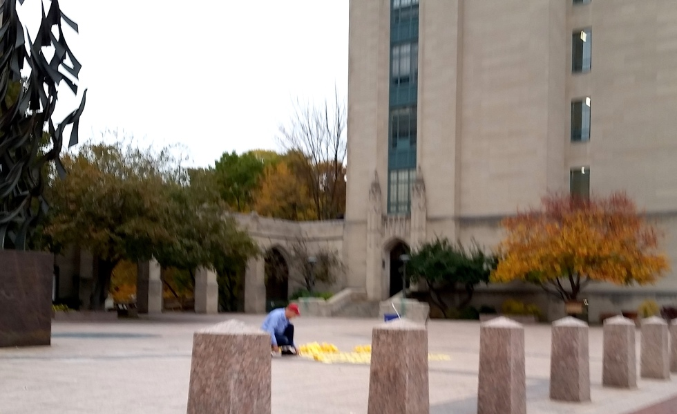 "Maintenance cleaning up after students' ""artwork"""