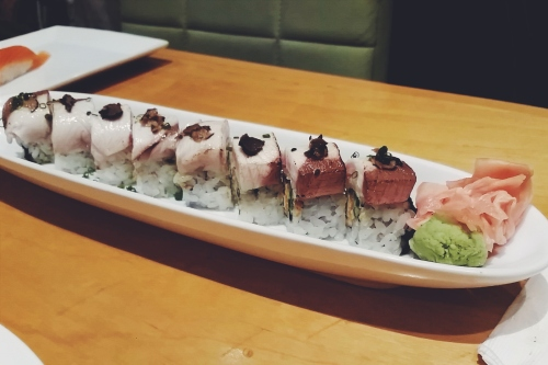 Yellowfin truffle maki sushi at Fish Market