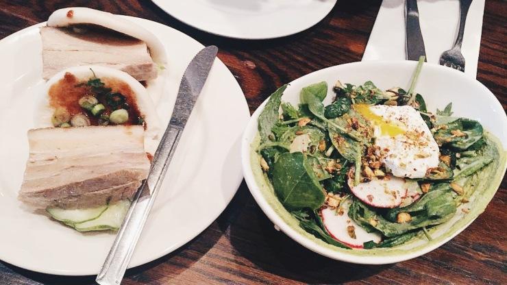 Pork buns and salad at Momofoku Ssam.
