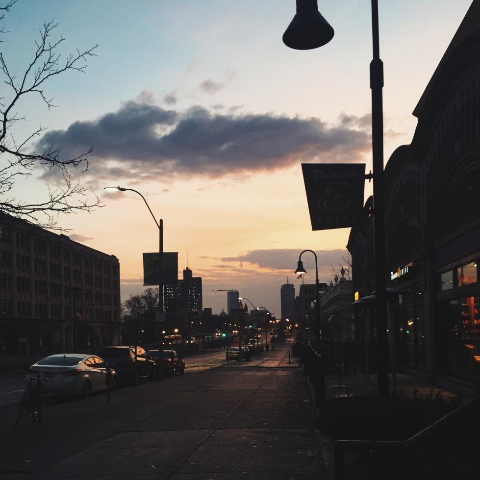 Sunrise on Comm Ave, BU West Campus