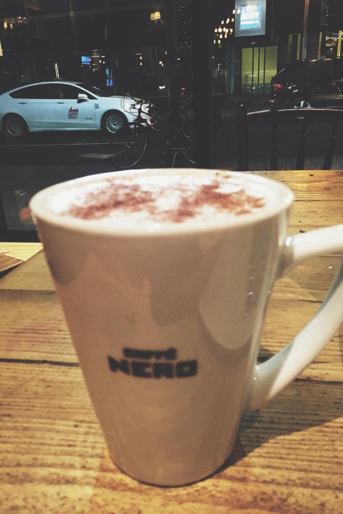 Chai tea latte at Caffe Nero Boston