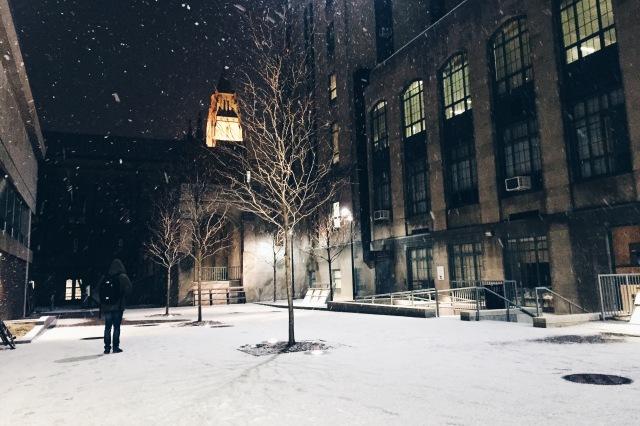 Snow outside BU Law building
