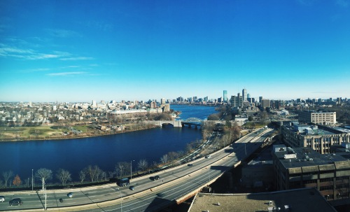 Day view of Boston and Charles River from Boston University Student Village