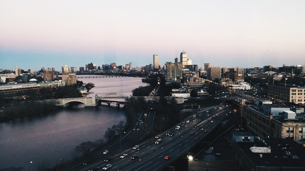 Sunset view of Boston and Charles River from Boston University Student Village