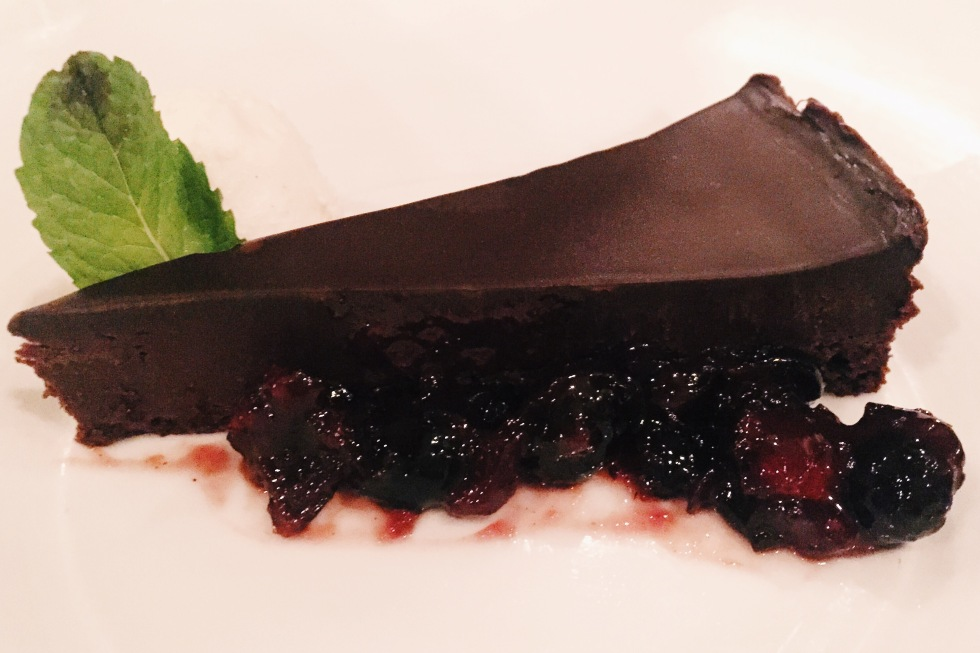 Flourless chocolate cake at Ananda in Fulton, MD