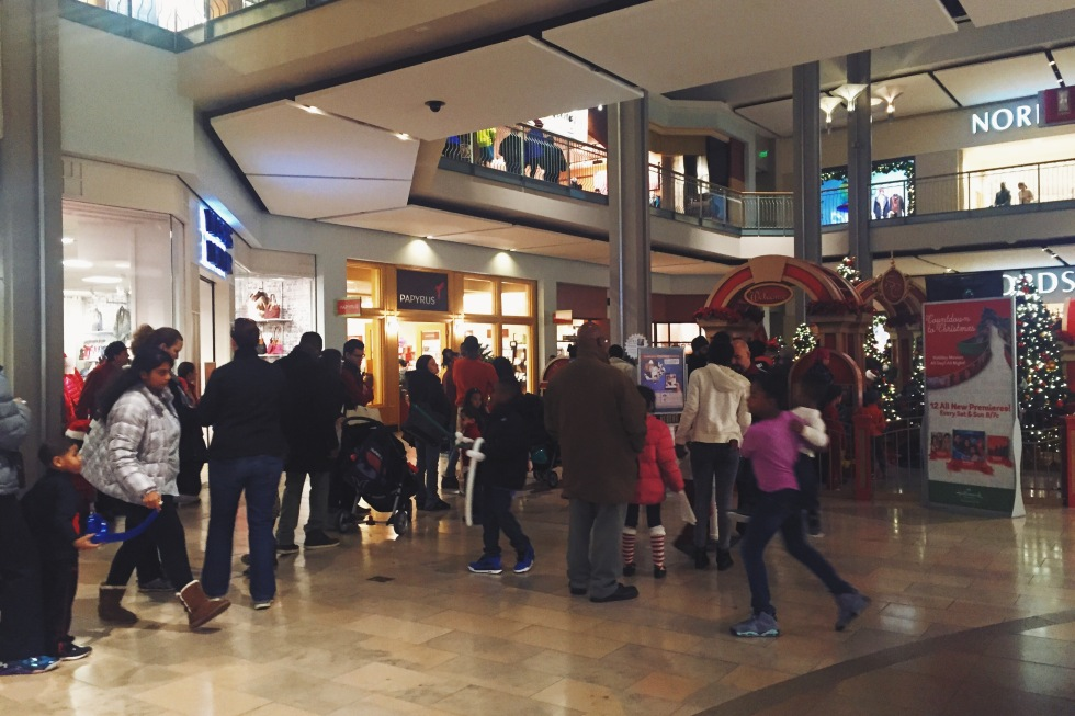 Long line for Santa photos at the Mall of Columbia
