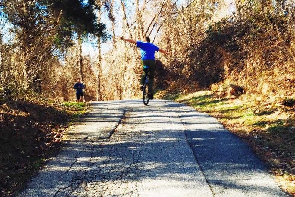 Unicyclist at Centennial Park