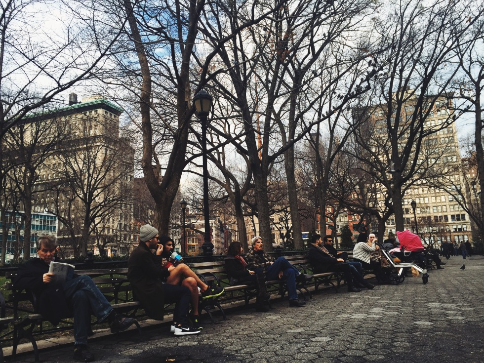 Chilling at Union Square Park NYC