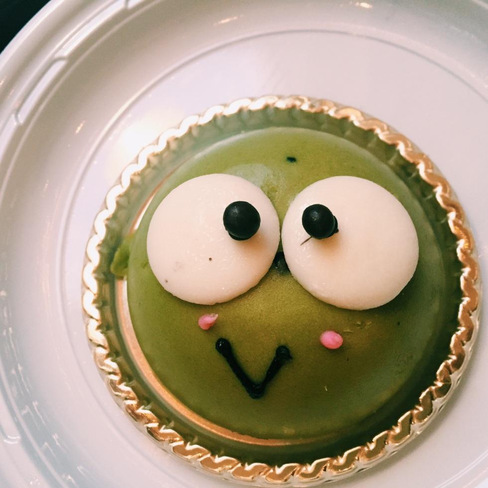 A red adzuki bean-filled green tea cake at Spot NYC