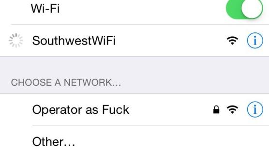 Southwest flight WiFi