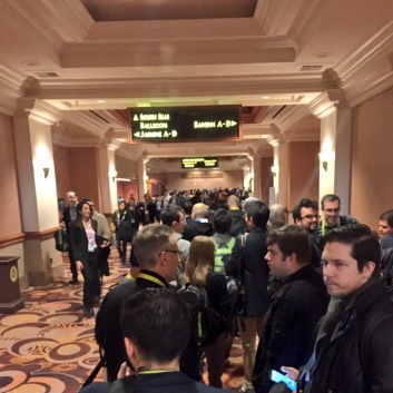 CES 2015 line for LG press conference