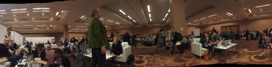 Failed panorama of the press room during lunch