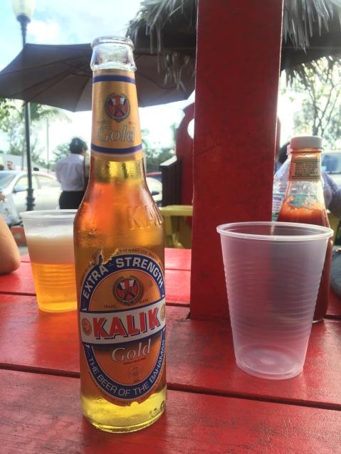 Bahamian beer Kalik at Fish Fry