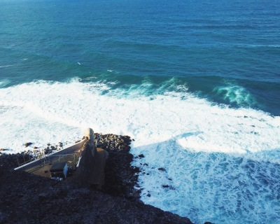 View of waves from atop Castillo San Cristobal