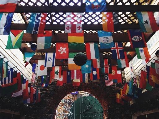 Flags at mall at Charlotte Amalie