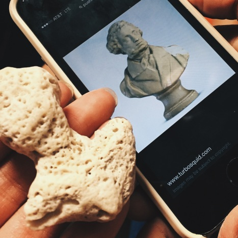 Coral piece resembling statue head