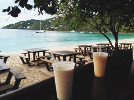 View of Magens Bay Beach from bar