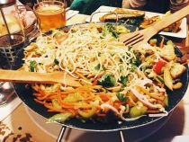 Stir fried noodles at Okafe restaurant in Cevahir mall Istanbul