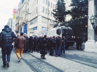 Witnessing a protest in Istanbul down the street from Taksim
