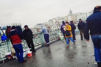 Fishermen along the Galata Bridge