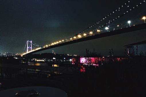 View of Bosphorus Bridge at night from Reina restaurant