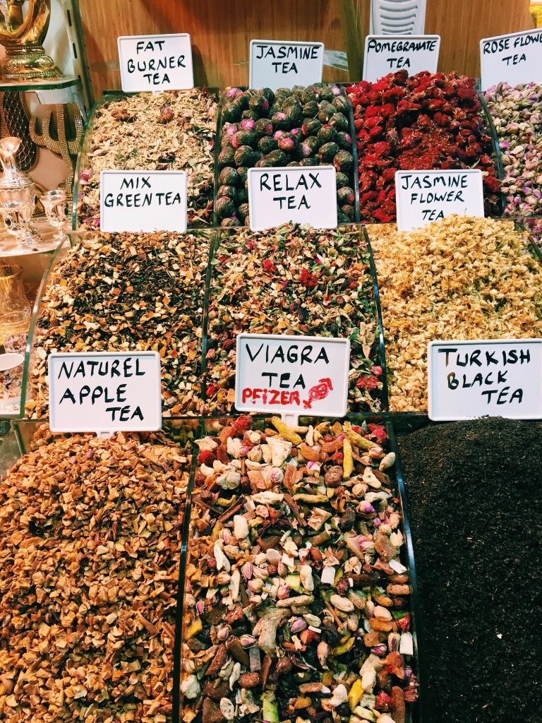 Funky tea names at the Grand Bazaar