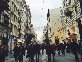 Walking toward Taksim from Galata
