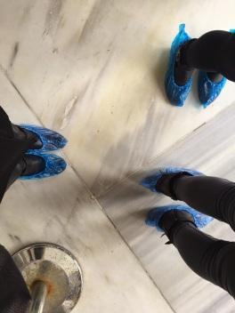 Blue plastic shoe covers