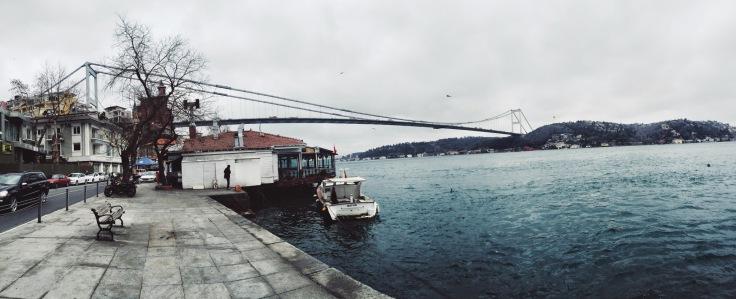 Panorama of the Bosphorus Bridge in Istanbul