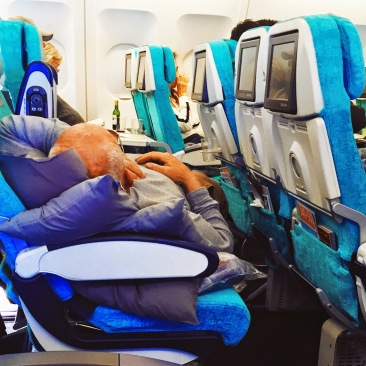 Man enjoys himself on Turkish Airlines