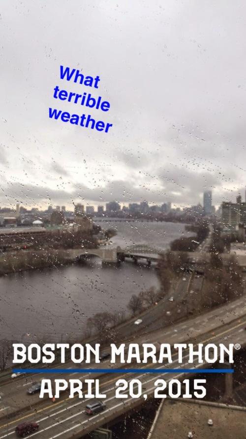 Boston Marathon morning view of Charles RIver