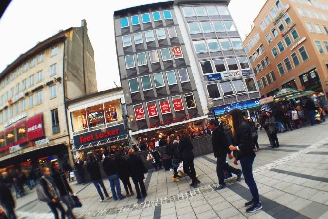 Walking toward Karlsplatz Munich