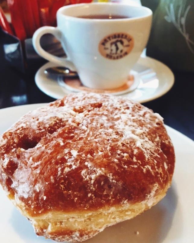 Jam doughnut and red berry tea at Patisserie Valerie at Spitalfields