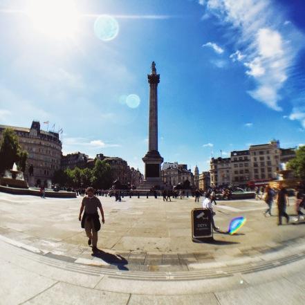 Seated at Trafalgar Square enjoying our Caffe Nero breakfast
