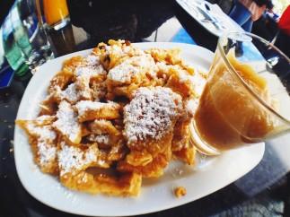 Kaiserschmarrn with apple sauce using Oktoberfest recipe at Rischart next to Viktualienmarkt