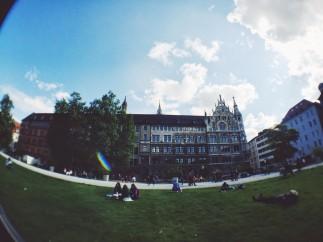 Chilling at a park near Marienplatz