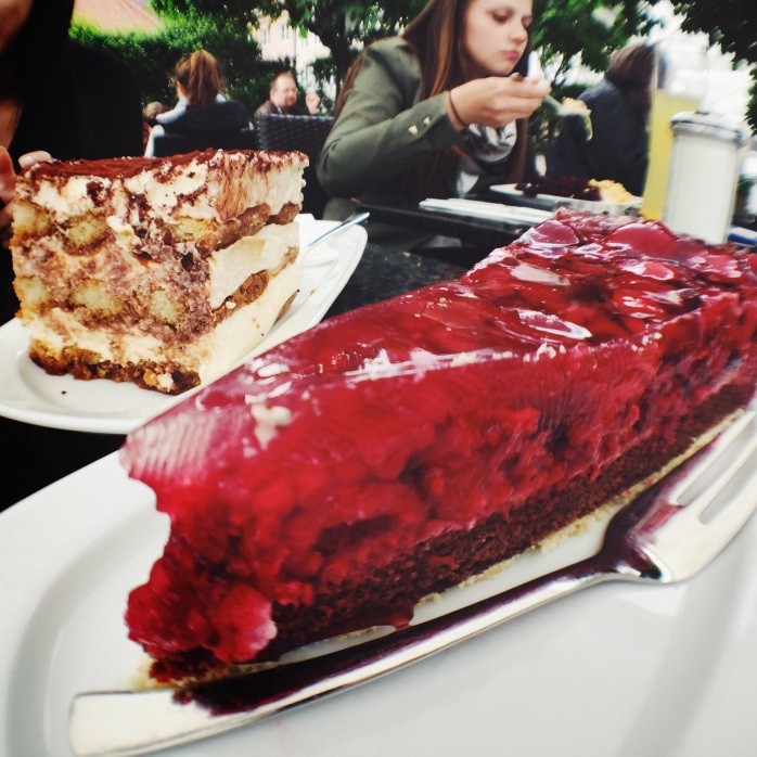Tiramisu and raspberry cake at Café Rischar